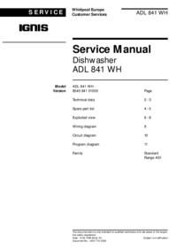 Serviceanleitung Ignis ADL 841 WH