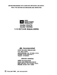 manuel de réparation JBL 5547A