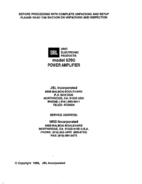 Service and User Manual JBL 6290
