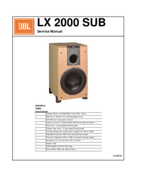 manuel de réparation JBL LX 2000 SUB