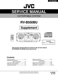 Service Manual Supplement JVC RV-B550BU