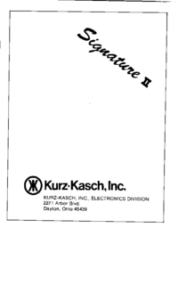 Service Manual KURZKASCH Signature II