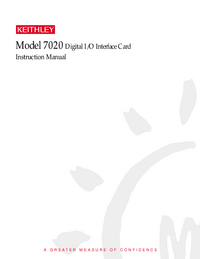 manuel de réparation Keithley 7020