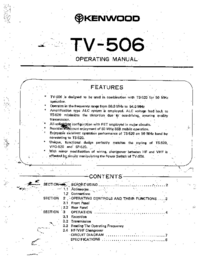 Service and User Manual Kenwood TV-506