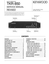 Service Manual Kenwood TKR-850