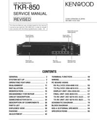 Serviceanleitung Kenwood TKR-850