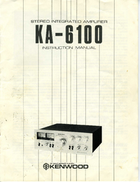 User Manual Kenwood KA-6100