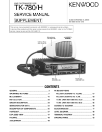Serviço Manual Supplement Kenwood TK-780 H