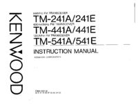 User Manual Kenwood TM-441A