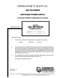 User Manual Kepco ABC-DM SERIES