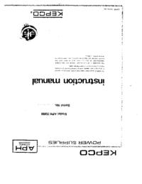 Обслуживание и Руководство пользователя Kepco ÄPH 500M