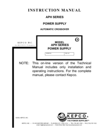 User Manual Kepco APH SERIES