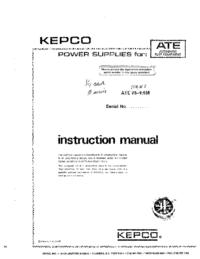Manuale di servizio Kepco ATE 75-1.5M