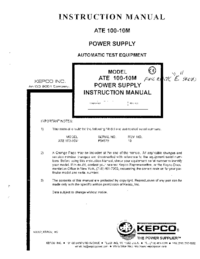 User Manual Kepco ATE 100-1OM