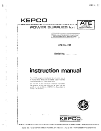 User Manual Kepco ATE 55—2 M