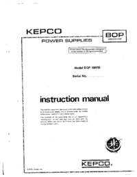 User Manual Kepco BOP 1000M