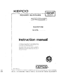 Serwis i User Manual Kepco BOP 500M