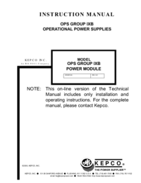 User Manual Kepco OPS GROUP IXB