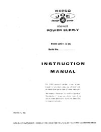 Servizio e manuale utente Kepco JQE 6-22 (M)
