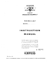 Service and User Manual Kepco JQE 36-15 (M)VP