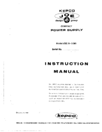 Serwis i User Manual Kepco JQE 75-3 (M)