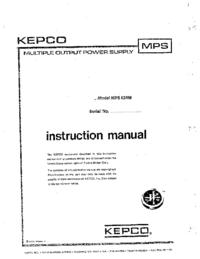 Service-en gebruikershandleiding Kepco MPS620M