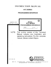 User Manual Kepco NTC SERIES