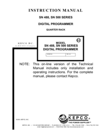 Manuale d'uso Kepco SN 500 SERIES