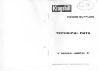 Serviço e Manual do Usuário Kingshill V Series Model C
