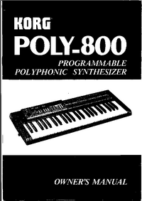 User Manual Korg Poly 800