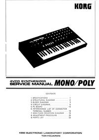 Руководство по техническому обслуживанию Korg Mono/Poly