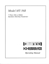 User Manual KrohnHite MT-56