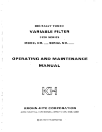 Service and User Manual KrohnHite 3323