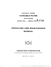 Service and User Manual KrohnHite 3343