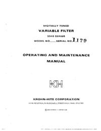 Service- und Bedienungsanleitung KrohnHite 3340