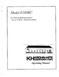 Bedienungsanleitung KrohnHite E1OORC