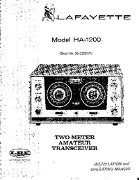 Service and User Manual Lafayette HA-1200