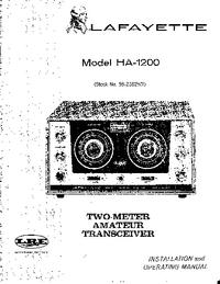 Servicio y Manual del usuario Lafayette HA-1200