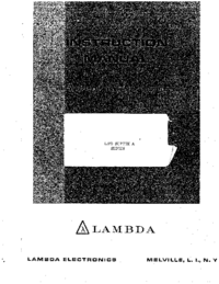 User Manual Lambda LPD-425AFM