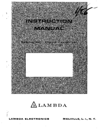 Service and User Manual Lambda LDS-X-15