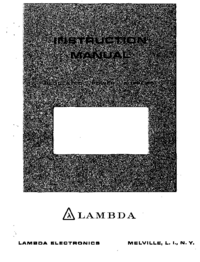 Servicio y Manual del usuario Lambda LDS-Y-20