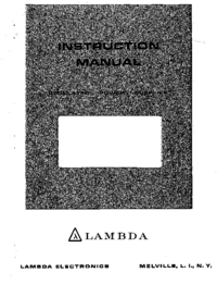 Serwis i User Manual Lambda LDS-P-03