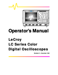 User Manual LeCroy LC374 Series