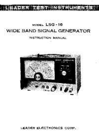 Serviço e Manual do Usuário Leader LSG-16