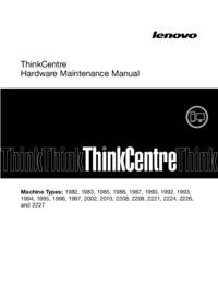 Руководство по техническому обслуживанию Lenovo ThinkCentre 1996