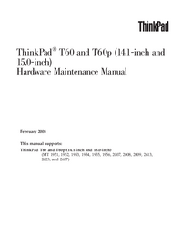 Manual de serviço Lenovo ThinkPad T60p (14.1-inch and 15.0-inch)