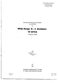Обслуживание и Руководство пользователя Marconi TF 1370A