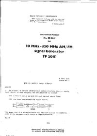 manuel de réparation Marconi TF 2015