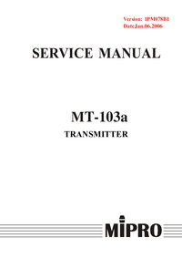Manual de servicio MiPRo MT-103a