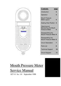 Service Manual MicroMedical Mouth Pressure Meter